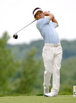 Hidemichi Tanaka tees off on the 15th hole during the second round of the 2005 Cialis Western Open at Cog Hill Golf and Country Club in Lemont, Illinois on Friday, July 1, 2005.Photo by Al Messerschmidt/WireImage.com