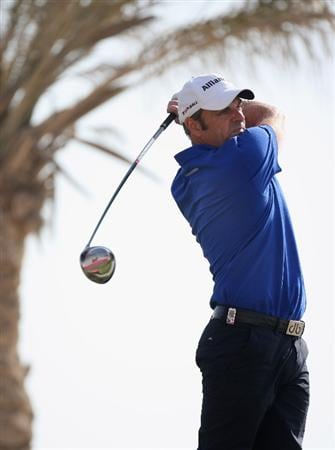 DOHA, QATAR - JANUARY 22:  Paul McGinley of Ireland on the 11th tee during the first round of the Commercialbank Qatar Masters at the Doha Golf Club on January 22, 2009 in Doha, Qatar.  (Photo by Ross Kinnaird/Getty Images)