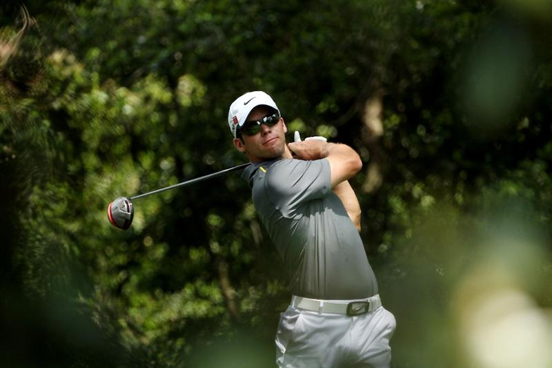 AUGUSTA, GA - APRIL 09:  Paul Casey of England watches his tee shot on the second hole during the third round of the 2011 Masters Tournament at Augusta National Golf Club on April 9, 2011 in Augusta, Georgia.  (Photo by Andrew Redington/Getty Images)
