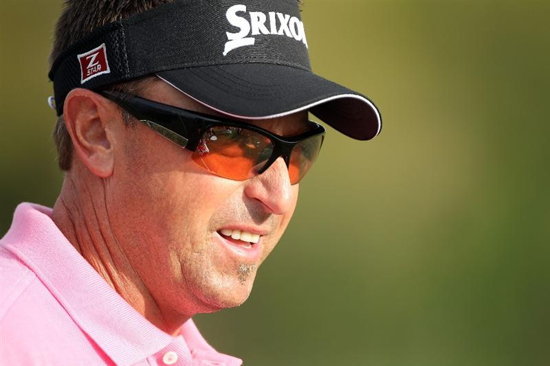 ORLANDO, FL - MARCH 28:  Robert Allenby of Australia waits on the practice ground during the final round of the Arnold Palmer Invitational presented by MasterCard at the Bayhill Club and Lodge on March 28, 2010 in Orlando, Florida.  (Photo by Scott Halleran/Getty Images)