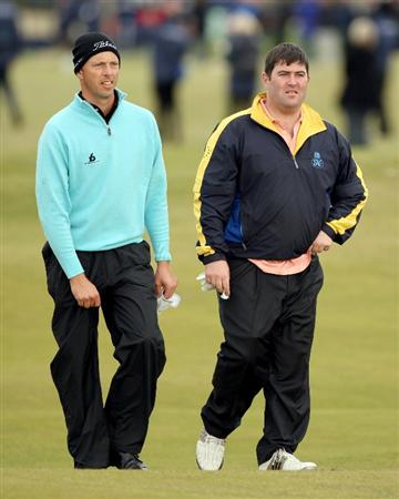 ST ANDREWS, SCOTLAND - OCTOBER 05:  Soren Hansen of Denmark with his playing partner Kieran McManus on the 17th fairway during the final round of The Alfred Dunhill Links Championship at The Old Course on October 5, 2009 in St.Andrews, Scotland.  (Photo by Warren Little/Getty Images)