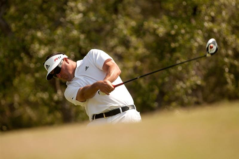 SAN ANTONIO, TX - APRIL 17: Pat Perez follows through on a tee shot during the final round of the Valero Texas Open at the AT&T Oaks Course at TPC San Antonio on April 17, 2011 in San Antonio, Texas. (Photo by Darren Carroll/Getty Images)