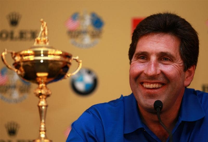 ABU DHABI, UNITED ARAB EMIRATES - JANUARY 18:  Jose Maria Olazabal of Spain talks to the media after being named Europe's 2012 captain during a Ryder Cup Press Conference at the 2011 Abu Dhabi HSBC Golf Championship at the Abu Dhabi Golf Club on January 18, 2011 in Abu Dhabi, United Arab Emirates.  (Photo by Andrew Redington/Getty Images)