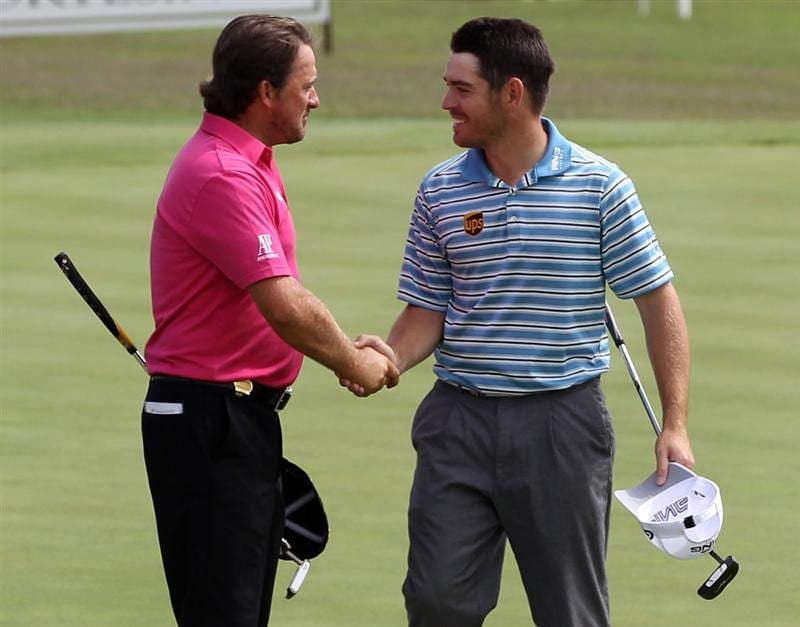 CASARES, SPAIN - MAY 19:  Graeme McDowell of Northern Ireland beats Louis Oosthuizen of South Africa during the group stages of the Volvo World Match Play Championship at Finca Cortesin on May 19, 2011 in Casares, Spain.  (Photo by Ross Kinnaird/Getty Images)