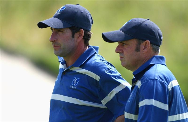 BANGKOK, THAILAND - JANUARY 09:  Paul McGinley of Ireland and European Team Captain Jose Maria Olazabal look on during the foursomes on Day one of The Royal Trophy at the Amata Spring Country Club on January 9, 2009 in Bangkok, Thailand.  (Photo by Ian Walton/Getty Images)