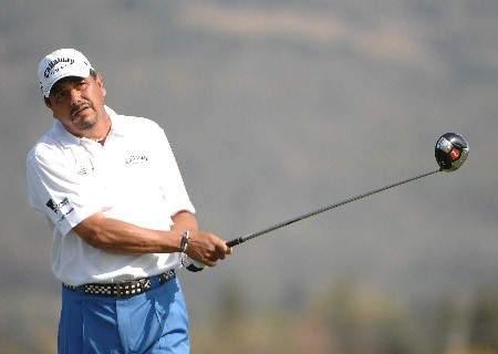 SONOMA, CA - OCTOBER 27:  Eduardo Romero of Argentina tees off the third hole during the third round of the Charles Schwab Championship Cup at the Sonoma Golf Club October 27, 2007 in Sonoma, California.  (Photo by Marc Feldman/Getty Images)