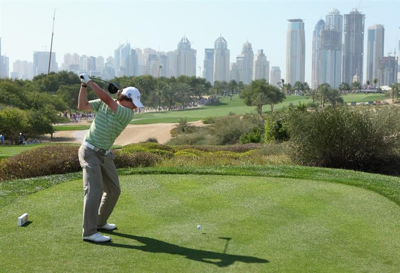 DUBAI, UNITED ARAB EMIRATES - FEBRUARY 01:  Rory McIlroy of Northern Ireland tees off on the eighth hole during the final round of the Dubai Desert Classic on the Majilis course at Emirates Golf Club on February 1, 2009 in Dubai, United Arab Emirates.  (Photo by Andrew Redington/Getty Images)