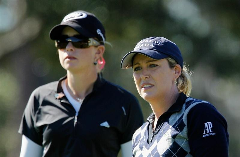 ORLANDO, FL - DECEMBER 03:  Cristie Kerr (R) watches her tee shot on the eighth hole as Paula Creamer looks on during the second round of the LPGA Tour Championship at the Grand Cypress Resort on December 3, 2010 in Orlando, Florida.  (Photo by Scott Halleran/Getty Images)