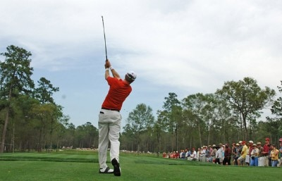Bob Estes tees off the 9th hol e at the final round of the Shell Houston Open at the Redstone Golf Club,Tournament Course in Humble, Texas on Sunday , April 23, 2006.Photo by Marc Feldman/WireImage.com
