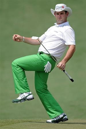 AUGUSTA, GA - APRIL 08:  Rory Sabbatini of South Africa reacts to a putt on the second green during the second round of the 2011 Masters Tournament at Augusta National Golf Club on April 8, 2011 in Augusta, Georgia.  (Photo by Harry How/Getty Images)