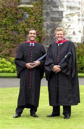 18 Jul 2000:  Colin Montgomerie of Scotland and Seve Ballesteros of Spain at St Andrews university to receive their honorary degrees in, St Andrews, Scotland.   Mandatory Credit:  Harry How/ALLSPORT