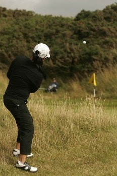 Jeong Jang chips to the green during the final round of the 2005 Weetabix Women's British Open at the Royal Birkdale Golf Club. July 31, 2005Photo by Pete Fontaine/WireImage.com