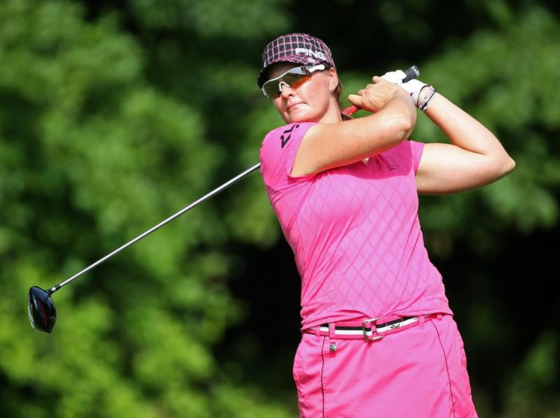 HAVRE DE GRACE, MD - JUNE 12:  Maria Hjorth of Sweden hits her tee shot on the 4th hole during the second round of the McDonald's LPGA Championship at Bulle Rock Golf Course on June 12, 2009 in Havre de Grace, Maryland.  (Photo by Andy Lyons/Getty Images)