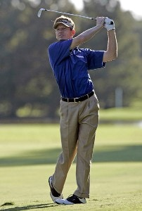 Brad Faxon hits his approach shot on the 9th hole during the first round of the Southern Farm Bureau Classic at Annandale Golf Club in Madison, Mississippi, on September 28, 2006. PGA TOUR - 2006 Southern Farm Bureau Classic - First RoundPhoto by Hunter Martin/WireImage.com