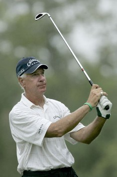 Bruce Fleisher in action during the first round of the Greater Hickory Classic at Rock Barn on the Jones Course  in Conover, North Carolina on October 7, 2005.Photo by Michael Cohen/WireImage.com