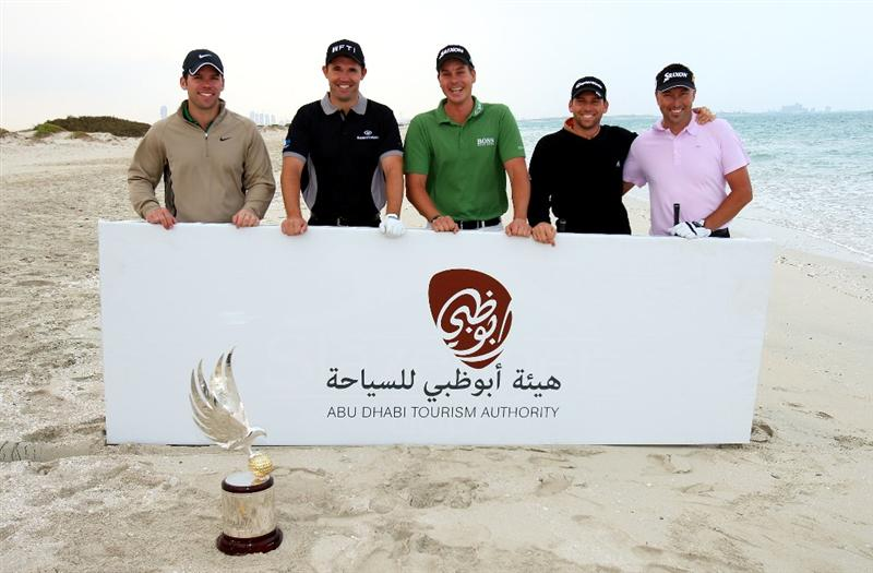ABU DHABI, UNITED ARAB EMIRATES - JANUARY 13:  From left to right: Paul Casey of England, Padraig Harrington of Ireland, Henrik Stenson of Sweden, Sergio Garcia of Spain and Robert Allenby of Australia pose for a photograph during a photocall on Saadiyat Island prior to the start of The Abu Dhabi Golf Championship at Abu Dhabi Golf Club on January 13, 2009 in Abu Dhabi, United Arab Emirates.  (Photo by Andrew Redington/Getty Images)