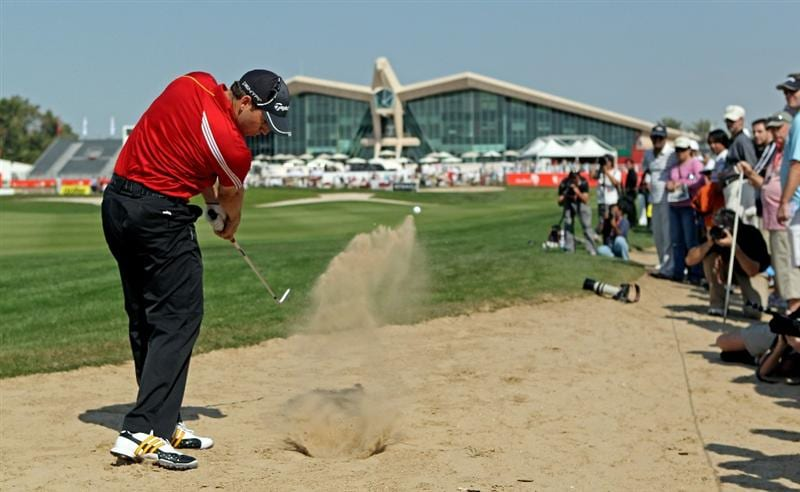 ABU DHABI, UNITED ARAB EMIRATES - JANUARY 22:  Sergio Garcia of Spain plays his second shot on the ninth hole during the second round of The Abu Dhabi Golf Championship at Abu Dhabi Golf Club on January 22, 2010 in Abu Dhabi, United Arab Emirates.  (Photo by Andrew Redington/Getty Images)