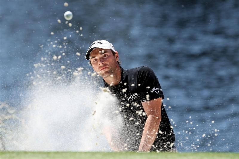 AUGUSTA, GA - APRIL 08:  Oliver Wilson of England plays a bunker shot during the Par 3 Contest prior to the 2009 Masters Tournament at Augusta National Golf Club on April 8, 2009 in Augusta, Georgia.  (Photo by Andrew Redington/Getty Images)