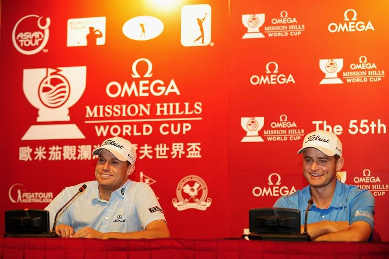 SHENZHEN, GUANGDONG - NOVEMBER 24:  Nick Watney and John Merrick of USA smile during their press conference before for the Omega Mission Hills World Cup on the Olazabal course on November 24, 2009 in Shenzhen, China.  (Photo by Stuart Franklin/Getty Images)