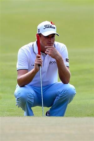 PONTE VEDRA BEACH, FL - MAY 13:  Nick Watney lines up a putt on the ninth hole during the second round of THE PLAYERS Championship held at THE PLAYERS Stadium course at TPC Sawgrass on May 13, 2011 in Ponte Vedra Beach, Florida.  (Photo by Sam Greenwood/Getty Images)