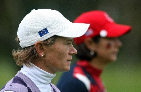 HALMSTAD, SWEDEN - SEPTEMBER 16:  Catriona Matthew of Scotland (L) walks with Laura Diaz of the U.S. during the singles matches of the 2007 Solheim Cup at Halmstad Golf Club September 16, 2007 in Halmstad, Sweden.  (Photo by Scott Halleran/Getty Images)