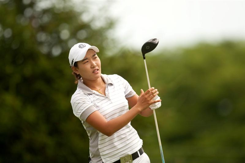 SPRINGFIELD, IL - JUNE 10: Ilhee Lee of South Korea follows through on a tee shot during the first round of the LPGA State Farm Classic at Panther Creek Country Club on June 10, 2010 in Springfield, Illinois. (Photo by Darren Carroll/Getty Images)