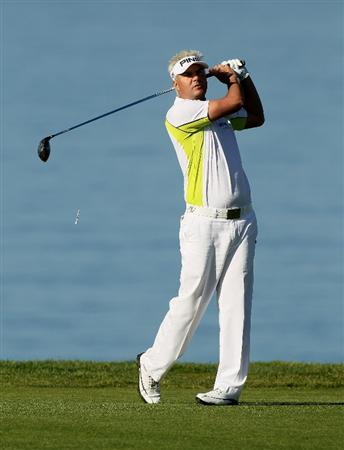 LA JOLLA, CA - JANUARY 28:  Daniel Chopra of Sweden hits his tee shot on the second hole at the North Course at Torrey Pines Golf Course during the first round of the Farmers Insurance Open on January 28, 2010 in La Jolla, California.  (Photo by Stephen Dunn/Getty Images)