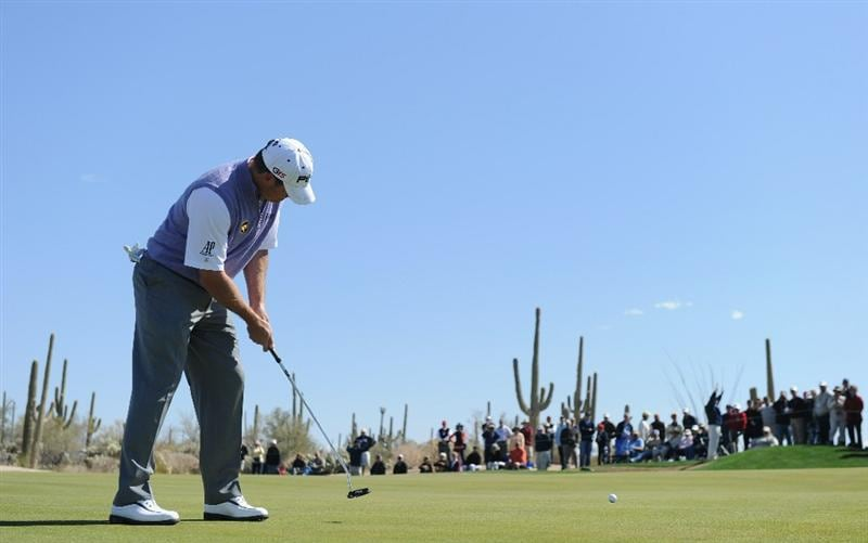 MARANA, AZ - FEBRUARY 23:  Lee Westwood of England putting on the second hole during the first round of the World Golf Championships-Accenture Match Play Championship held at The Ritz-Carlton Golf Club, Dove Mountain on February 23, 2011 in Marana, Arizona.  (Photo by Stuart Franklin/Getty Images)