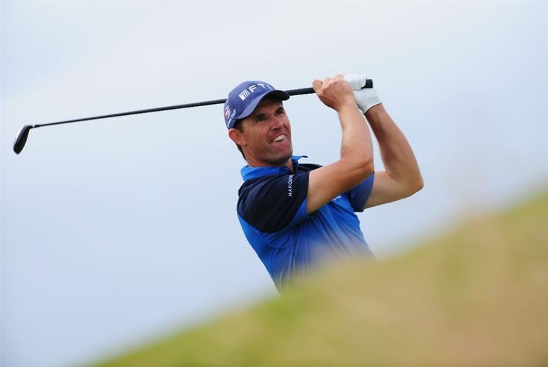 TURNBERRY, SCOTLAND - JULY 18:  Padraig Harrington of Ireland hits an approach shot during round three of the 138th Open Championship on the Ailsa Course, Turnberry Golf Club on July 18, 2009 in Turnberry, Scotland.  (Photo by Stuart Franklin/Getty Images)