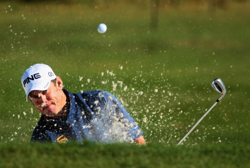 DORAL, FL - MARCH 11:  Lee Westwood of England plays a bunker shot on the 15th hole during the completion of the first round of the 2011 WGC- Cadillac Championship at the TPC Blue Monster at the Doral Golf Resort and Spa on March 11, 2011 in Doral, Florida.  (Photo by Scott Halleran/Getty Images)