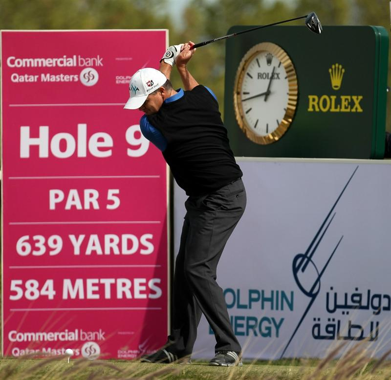 DOHA, QATAR - FEBRUARY 06:  Paul Lawrie of Scotland during the final round of the Commercialbank Qatar Masters at the Doha Golf Club on February 6, 2011 in Doha, Qatar.  (Photo by Ross Kinnaird/Getty Images)