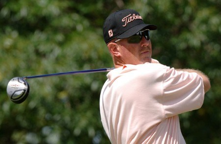 Frank Lickliter II drives from the 18th tee during the third round of the Cialis Western Open July 2, 2005 in Lemont, Illinois.Photo by Al Messerschmidt/WireImage.com