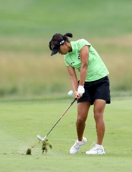 HAVRE DE GRACE, MD - JUNE 10:  Mi Hyun Kim of South Korea hits her second shot at the par 4, 1st hole during the final round of the 2007 McDonald's LPGA Championship on June 10, 2007 at Bulle Rock Golf Course in Havre de Grace, Maryland.  (Photo by David Cannon/Getty Images)