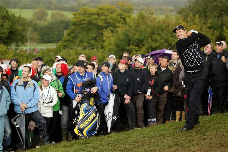 NEWPORT, WALES - OCTOBER 03:   Padraig Harrington of Europe hits from the rough during the  Fourball & Foursome Matches during the 2010 Ryder Cup at the Celtic Manor Resort on October 3, 2010 in Newport, Wales. (Photo by Andrew Redington/Getty Images)