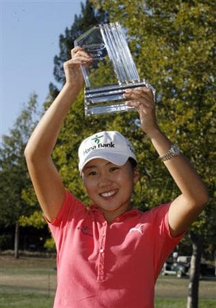 DANVILLE, CA - OCTOBER 12: In-Kyung Kim of South Korea hold her championship trophy after winning the LPGA Longs Drugs Challenge at the Blackhawk Country Club October 12, 2008 in Danville, California. (Photo by Max Morse/Getty Images)