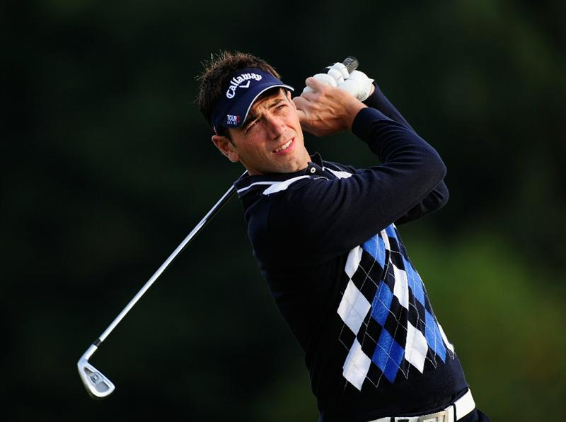 PARIS - SEPTEMBER 23:  Nick Dougherty of England plays his tee shot on the second hole during the first round of the Vivendi cup at Golf de Joyenval on September 22, 2010 in Chambourcy, near Paris, France.  (Photo by Stuart Franklin/Getty Images)