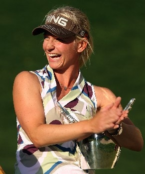 HUIXQUILUCAN, MEXICO - MARCH 16:  Louise Friberg of Sweden poses with the trophy after winning the MasterCard Classic at Bosque Real Country Club on March 16, 2008 in Huixquilucan, Mexico  (Photo by Scott Halleran/Scott Halleran)