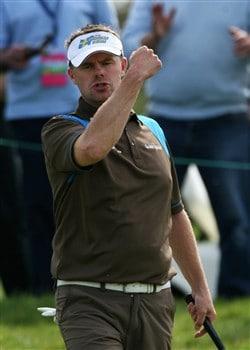 PLENEUF-VAL-ANDRE, FRANCE - APRIL 26:  Joakim Haeggman of Sweden celebrates a crucial par putt on the 16th green during the final round of the AGF-Allianz Open Cotes d'Armour Bretagne at Golf Blue-Green Pleneuf-Val Andre on April 26, 2008 in Pleneuf-Val Andre, France.  (Photo by Warren Little/Getty Images)