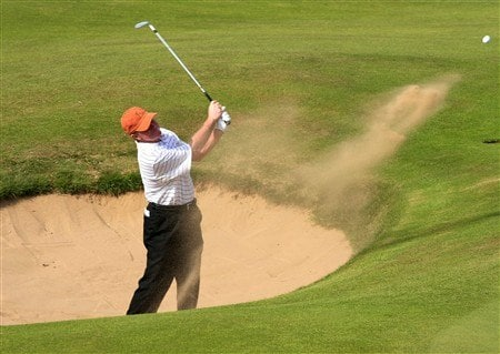 TROON, UNITED KINGDOM - JULY 24:  Tom Kite of US plays from the bunker on the 13th hole during the first round of the Senior Open Championships at Royal Troon on July 24, 2008 in Troon, Scotland. (Photo by Phil Inglis/Getty Images)