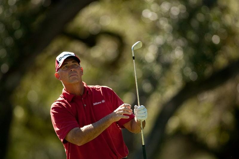 SAN ANTONIO, TX - OCTOBER 29: Tom Lehman follows through on a tee shot during the first round of the AT&T Championship at Oak Hills Country Club on October 29, 2010 in San Antonio, Texas. (Photo by Darren Carroll/Getty Images)