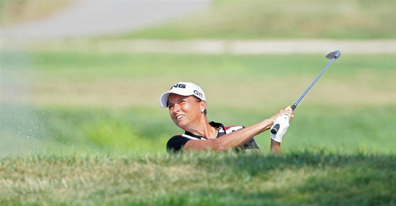 GALLOWAY, NJ - JUNE 19: Sherri Steinhauer plays her second shot on the seventh hole from a bunker  during the second round of the ShopRite LPGA Classic held at Dolce Seaview Resort (Bay Course) on June 19, 2010 in Galloway, New Jersey.  (Photo by Michael Cohen/Getty Images)
