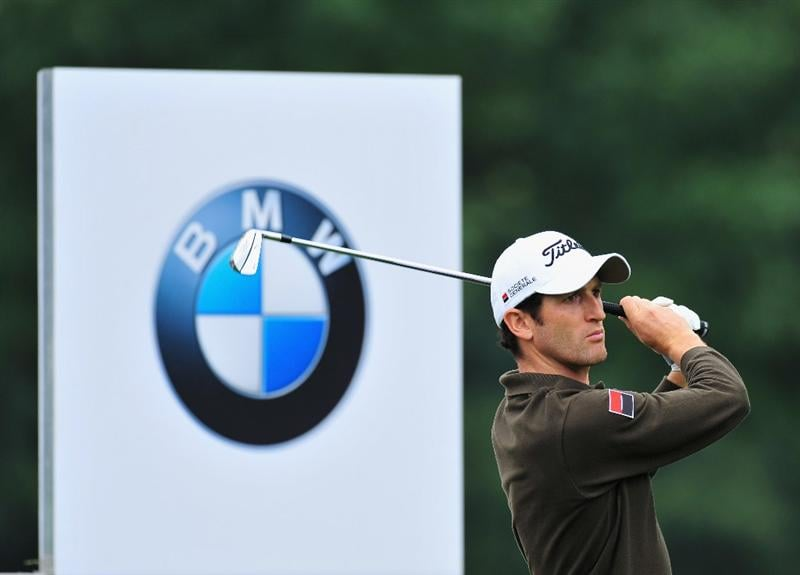 MUNICH, GERMANY - JUNE 25:  Gregory Bourdy of France plays his tee shot on the 11th hole during the first round of The BMW International Open Golf at The Munich North Eichenried Golf Club on June 25, 2009, in Munich, Germany  (Photo by Stuart Franklin/Getty Images)