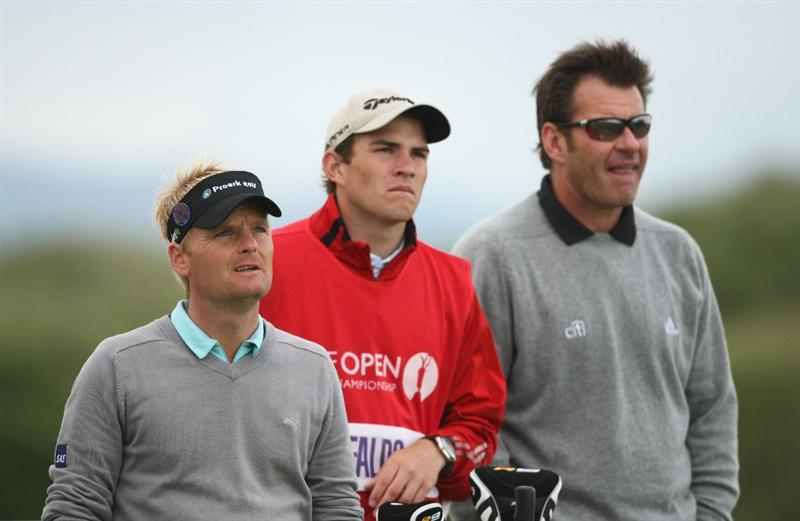 TURNBERRY, SCOTLAND - JULY 17:  Soren Kjeldsen of Denmark (L) and Sir Nick Faldo of England wait to tee off on the 4th hole during round two of the 138th Open Championship on the Ailsa Course, Turnberry Golf Club on July 17, 2009 in Turnberry, Scotland.  (Photo by Andrew Redington/Getty Images)