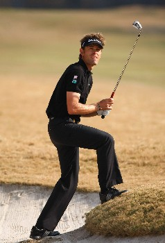NEW DELHI, INDIA - FEBRUARY 09:  Raphael Jacquelin of France watches his bunker shot on the 13th hole during the third round of the Emaar-MGF Indian Masters at the Delhi Golf Club on February 9, 2008 in Delhi, India.  (Photo by Stuart Franklin/Getty Images)