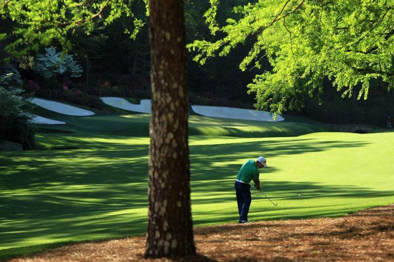 AUGUSTA, GA - APRIL 09:  Hunter Mahan plays his second shot on the 13th hole during the second round of the 2010 Masters Tournament at Augusta National Golf Club on April 9, 2010 in Augusta, Georgia.  (Photo by David Cannon/Getty Images)