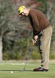 David Eger putts on the 12th green during the second round of the 2007 Outback Steakhouse Pro-Am Saturday, February 17, 2007, at the TPC of Tampa bay in Tampa, Florida. Champions Tour - 2007 Outback Steakhouse Pro-Am - Second RoundPhoto by Kevin C.  Cox/WireImage.com