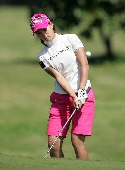 KAHUKU, HI - FEBRUARY 16:  Momoko Ueda of Japan hits her third shot on the 9th hole during the final round of the SBS Open on February 16, 2008  at the Turtle Bay Resort in Kahuku, Hawaii.  (Photo by Andy Lyons/Getty Images)