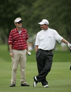 Brett Quigley (L) and Joe Durant wait during the first round of the Buick Open at Warwick Hills Golf and Country Club in Grand Blanc, Michigan on August 3, 2006.Photo by Michael Cohen/WireImage.com