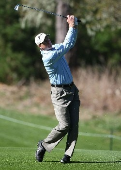PEBBLE BEACH, CA - FEBRUARY 07:  Jim Furyk hits a shot during the first round of the AT&T Pebble Beach National Pro-Am at Poppy Hills Golf Links on February 7, 2008 in Pebble Beach, California. (Photo by Jed Jacobsohn/Getty Images)