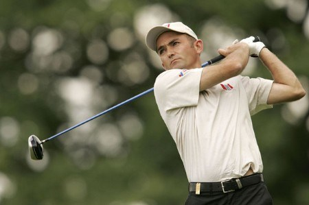 Markus Brier watches his tee shot during the rain delayed first round of the 2005 Deutsche Bank Players' Championship at Gut Kaden Golf Club in Hamburg, Germany on July 22, 2005.Photo by Pete Fontaine/WireImage.com